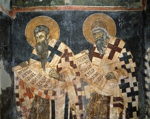 Fresque, XIV<sup>e</sup> siècle, église Saint-Marc de Dracevo (Bosnie-Herzégovine).